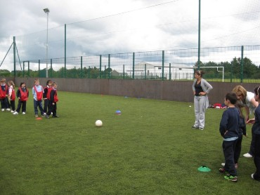 Classes from 1st to 6th enjoyed practising drills and playing soccer in the astro-turf at St Louis Community school.