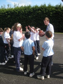 Two players from Kiltimagh Giants Basketball club visited the school on Monday and Tuesday.