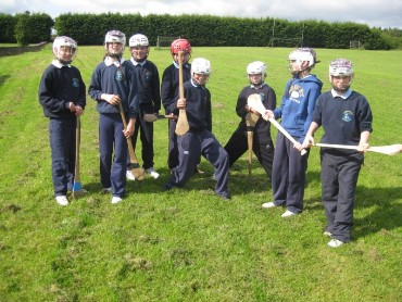 Fourth and fifth classes tried hurling with a member of Tooreen Hurling club.