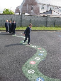 The junior classes love playing with our new playground markings!