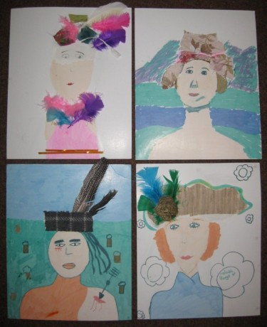 After the visit we all drew sillhouttes and designed our own hats and headpieces.