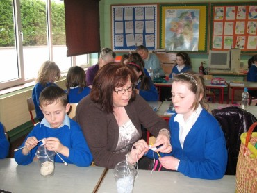 A group of ladies from Kiltimagh Knitting Club have been coming into school to teach us how to knit.