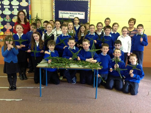 Thanks to retired teachers Mrs. Mooney and Mrs. Commons for their help with making St. Brigid's crosses