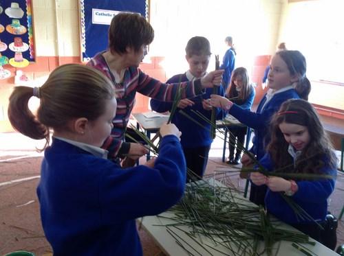 Making St Brigid's crosses