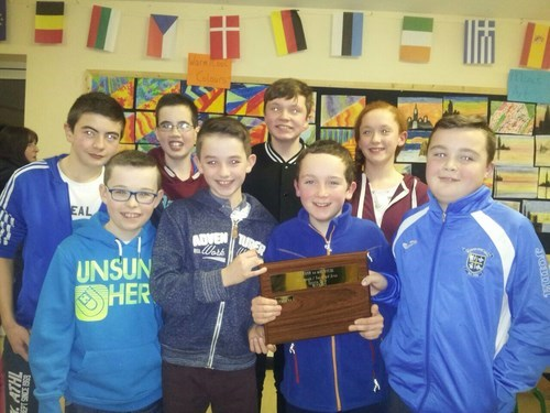 Members of the two teams from St. Aidan's N.S. Kiltimagh who took part in the first round of the Cumann na mBunscol Sports Quiz held recently in Foxford.