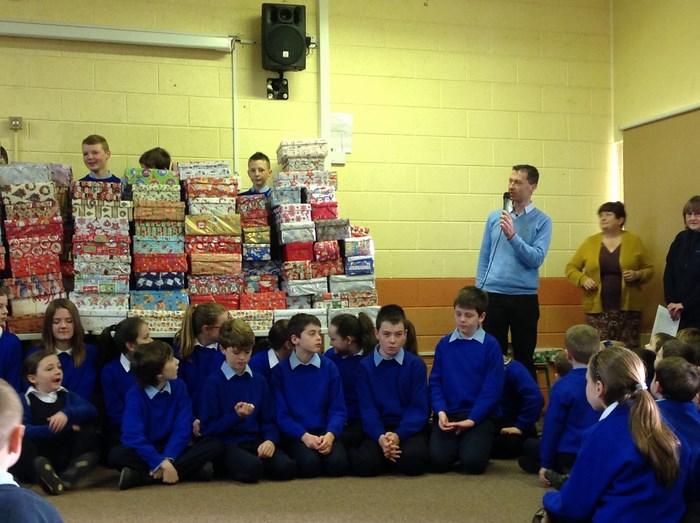 Mr Donnellan gives the final count -238 shoeboxes!