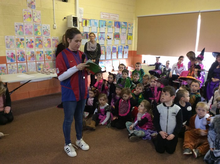 Ms McNeela introduces her class's book 'Give it to Joe'